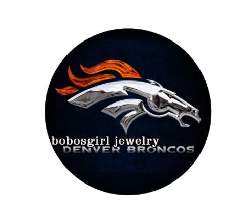 "Denver Broncos ""Shadow Horse Head with Blue"" - Snap Button"