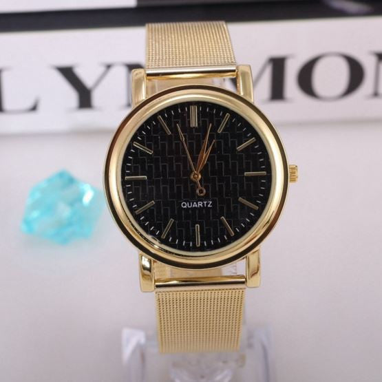 Gold Band Stainless Steel Fashion Quartz Watch
