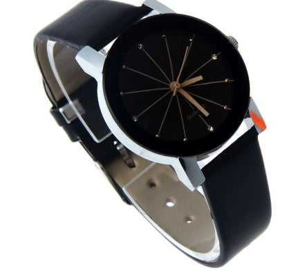 Stylish Black Quartz Watch with Leather Band