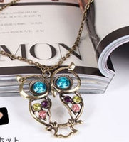 Cute Fashionable Lovely Vintage Colorful OWL Long Necklace Embellished with Pastel Crystal Gems