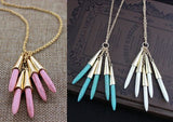 Long Turquoise Drops Necklace - Five Drops hanging from golden caps