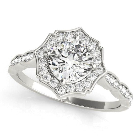 84996 - SCALLOPED CUSHION HALO RING 14 KT