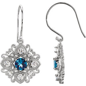 85373:60001:P - Diamond Vintage-Style Earrings
