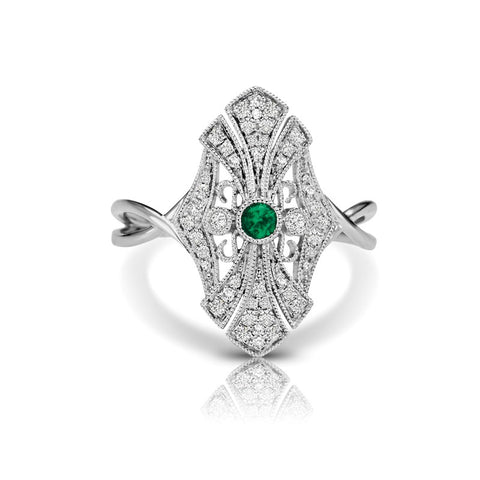 S1DR107-EM - 14KW EMERALD FASHION RING;DIAMOND=1/5 CTTW;EMERALD=1/20 CTTW