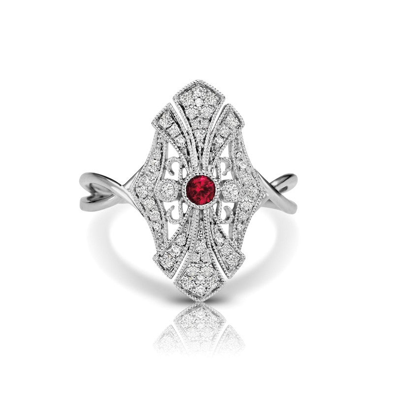 S1DR107-RU - 14KW RUBY FASHION RING;DIAMOND=1/5 CTTW; RUBY=1/20 CTTW