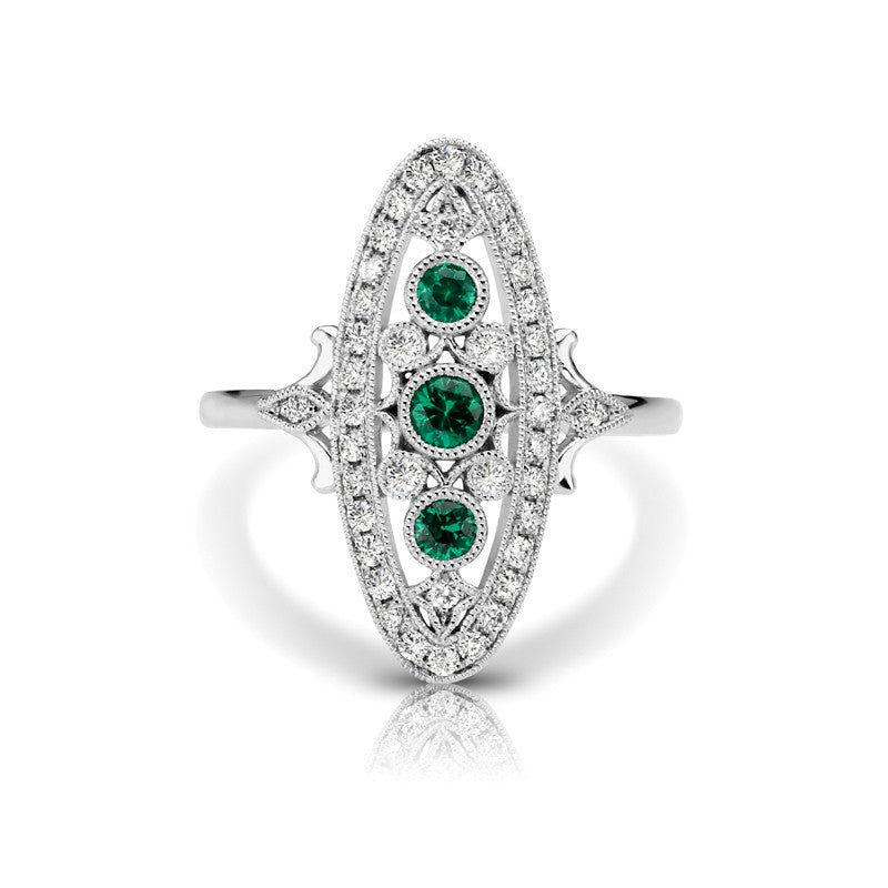 S1DR110-EM - 14KW EMERALD FASHION RING;DIAMOND=1/4 CTTW;EMERALD=1/5 CTTW