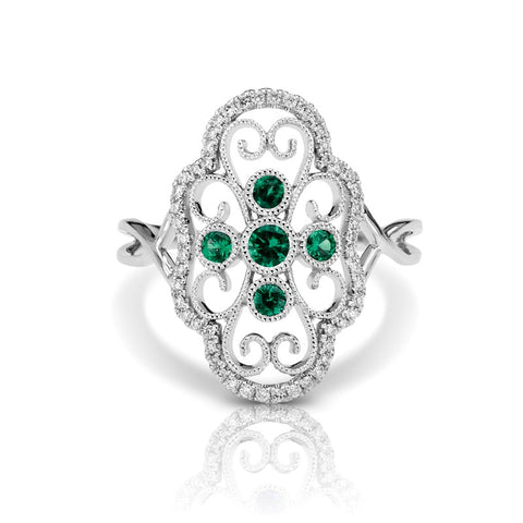 S1DR111-EM - 14KW EMERALD FASHION RING;DIAMOND=1/6 CTTW;EMERALD=1/5 CTTW