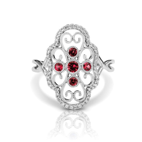 S1DR111-RU - 14KW RUBY FASHION RING;DIAMOND=1/6 CTTW; RUBY=1/5 CTTW