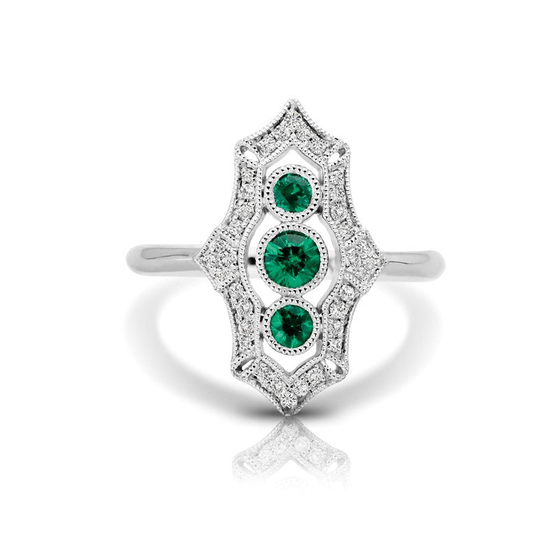 S1DR125-EM - 14K W EMERALD & DIAMOND FASHION RING;DIAMOND=1/6 CTTW;EMERALD=3/8 CTTW