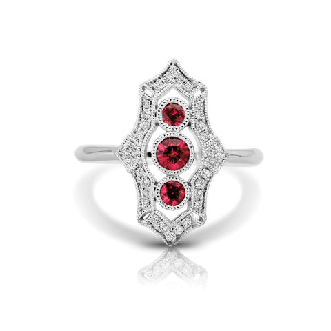 S1DR125-RU - 14K W RUBY & DIAMOND FASHION RING;DIAMOND=1/6 CTTW; RUBY=3/8 CTTW