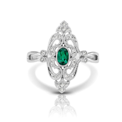 S1DR126-EM - 14K W EMERALD & DIAMOND FASHION RING;DIAMOND=1/10 CTTW;EMERALD=1/3 CTTW