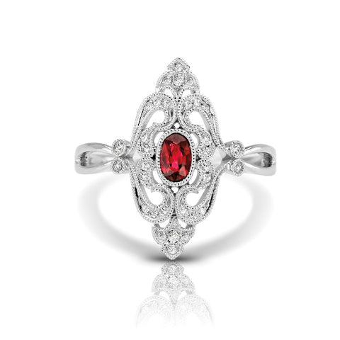 S1DR126-RU - 14K W RUBY & DIAMOND FASHION RING;DIAMOND=1/10 CTTW; RUBY=1/3 CTTW