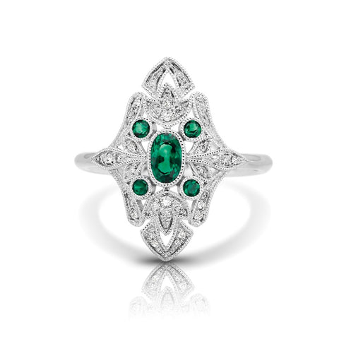 S1DR127-EM - 14K W EMERALD & DIAMOND FASHION RING;DIAMOND=1/8 CTTW;EMERALD=1/2 CTTW