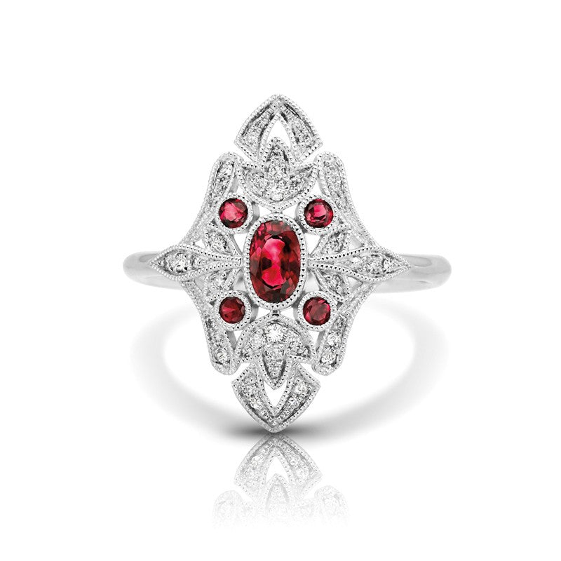 S1DR127-RU - 14K W RUBY & DIAMOND FASHION RING;DIAMOND=1/8 CTTW; RUBY=1/2 CTTW