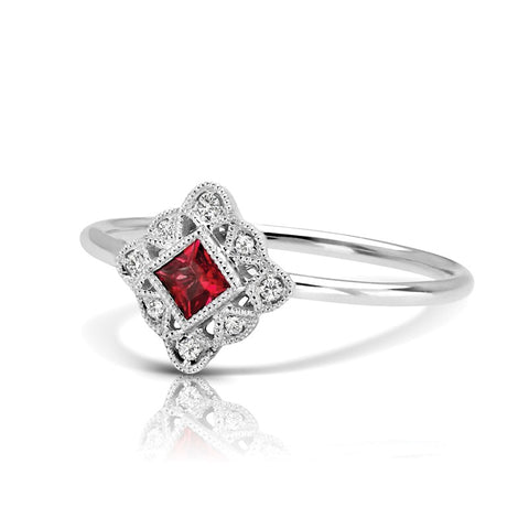 S1DR128-RU - 14K W RUBY & DIAMOND FASHION RING;DIAMOND=1/20 CTTW; RUBY=1/6 CTTW