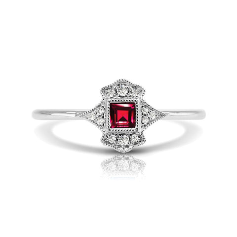 S1DR131-RU - 14K W RUBY & DIAMOND FASHION RING;DIAMOND=1/20 CTTW; RUBY=1/5 CTTW