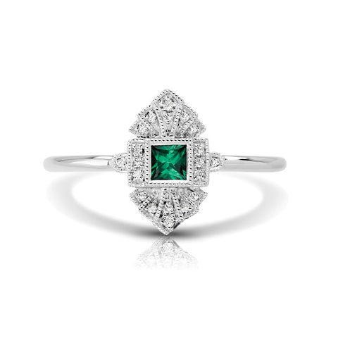 S1DR132-EM - 14K W EMERALD & DIAMOND FASHION RING;DIAMOND=1/20 CTTW;EMERALD=1/6 CTTW