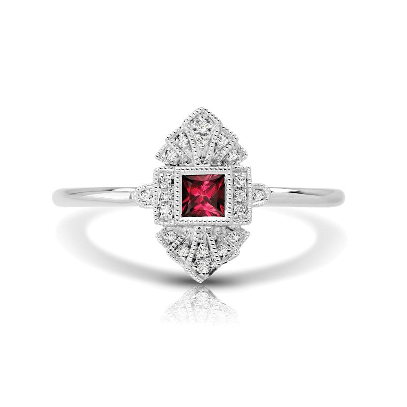 S1DR132-RU - 14K W RUBY & DIAMOND FASHION RING;DIAMOND=1/20 CTTW; RUBY-1/6 CTTW