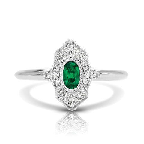 S1DR133-EM - 14K W EMERALD & DIAMOND FASHION RING;DIAMOND=1/10 CTTW;EMERALD=1/3 CTTW