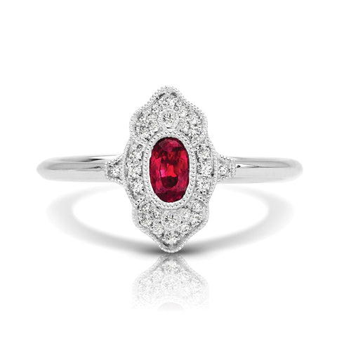 S1DR133-RU - 14K W RUBY & DIAMOND FASHION RING;DIAMOND=1/10 CTTW; RUBY=1/3 CTTW