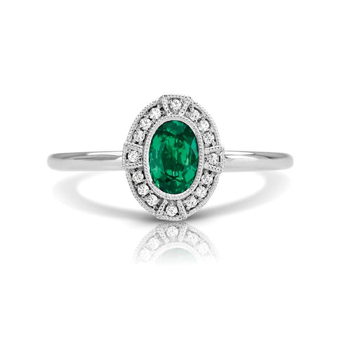 S1DR134-EM - 14K W EMERALD & DIAMOND FASHION RING;DIAMOND=1/20 CTTW;EMEALD=5/8 CTTW