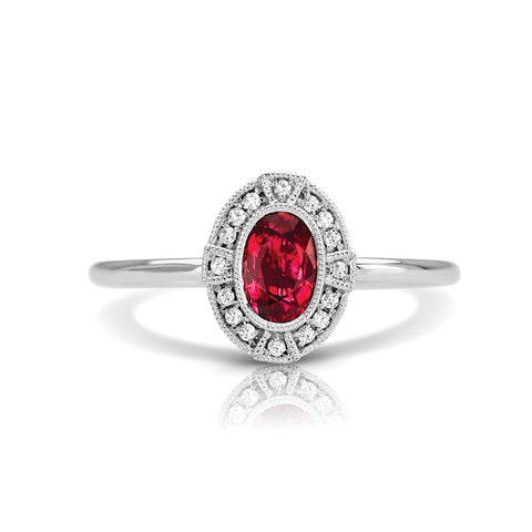 S1DR134-RU - 14K W RUBY & DIAMOND FASHION RING;DIAMOND=1/20 CTTW; RUBY-5/8 CTTW