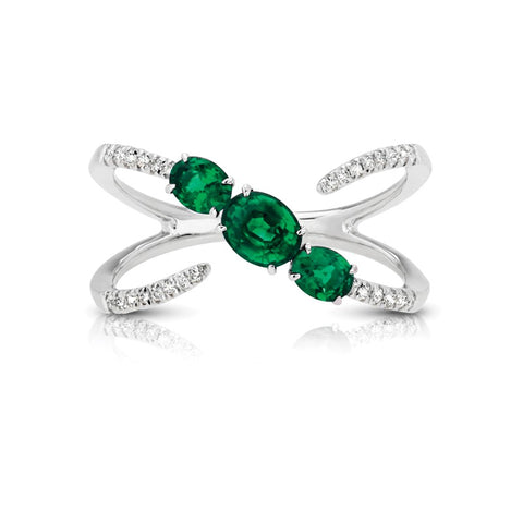 S1DR138-EM - 14K W EMERALD & DIAMOND FASHION RING;DIAMOND=1/10 CTTW;EMERALD=7/8 CTTW