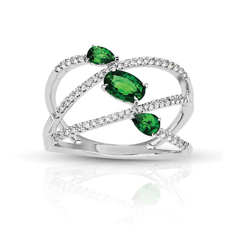 S1DR139-EM - 14K W EMERALD & DIAMOND FASHION RING;DIAMOND=1/5 CTTW;EMERALD=1 CTTW