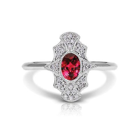 S1DR141-RU - 14K W RUBY & DIAMOND FASHION RING;DIAMOND=1/8 CTTW; RUBY=5/8 CTTW