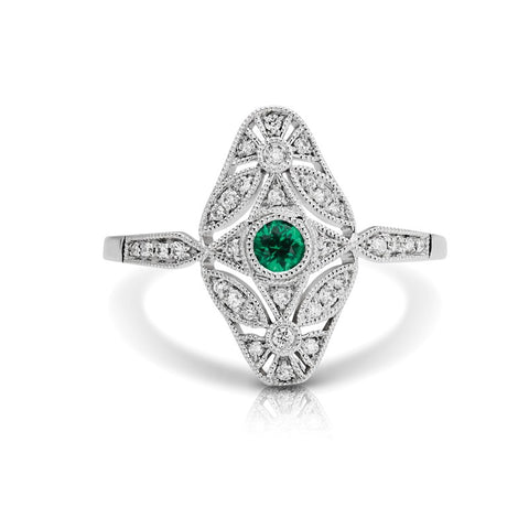 S1DR144-EM - 14K W EMERALD & DIAMOND FASHION RING;DIAMOND=1/8 CTTW;EMERALD=1/10 CTTW