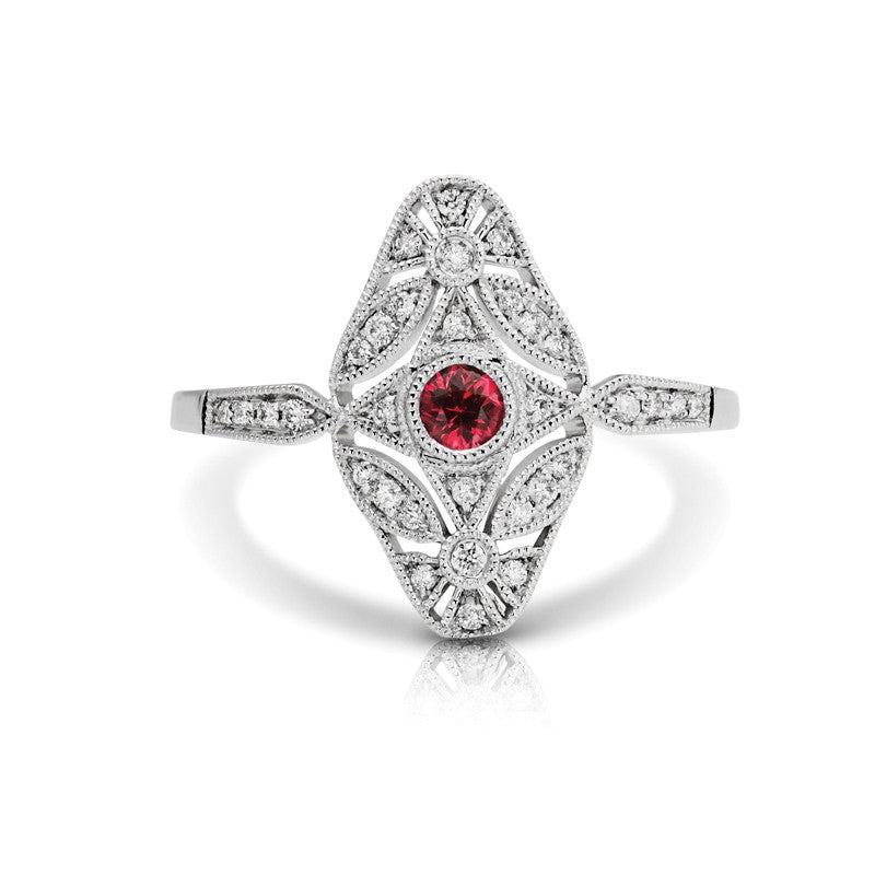 S1DR144-RU - 14K W RUBY & DIAMOND FASHION RING;DIAMOND=1/8 CTTW; RUBY=1/6 CTTW