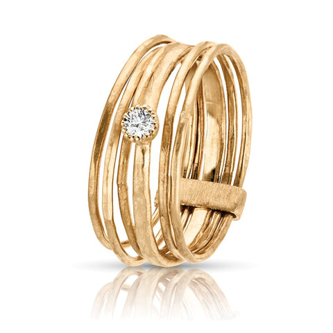 S1DR150 - 14KY STACK RINGS WITH A SINGLE DIAMOND;DIAMOND=1/20 CTTW