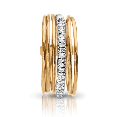 S1DR151 - 14KY STACK RINGS WITH 1 ROW OF DIAMOND;DIAMOND=1/8 CTTW