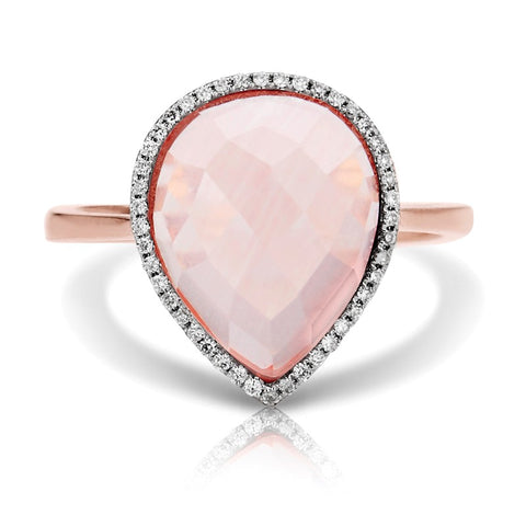 S1DR163 - 14KP PINK QUARTZ & DIAMOND RING;DIAMOND=1/8 CTTW