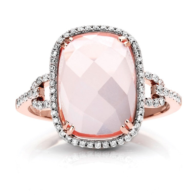 S1DR165 - 14K PINK QUARTZ & DIAMOND RING;DIAMOND=1/5 CTTW