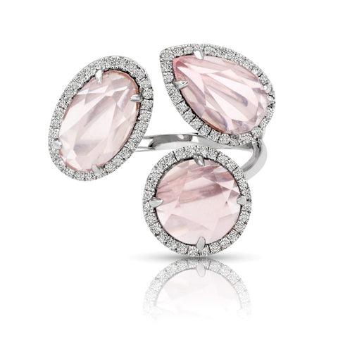 S1DR177 - 14K PINK QUARTZ & DIAMOND RING;DIAMOND=1/3 CTTW;PINK QUARTZ RD=1 3/8 CTTW;PINK QUARTZ PS=1 3/8 CTTW