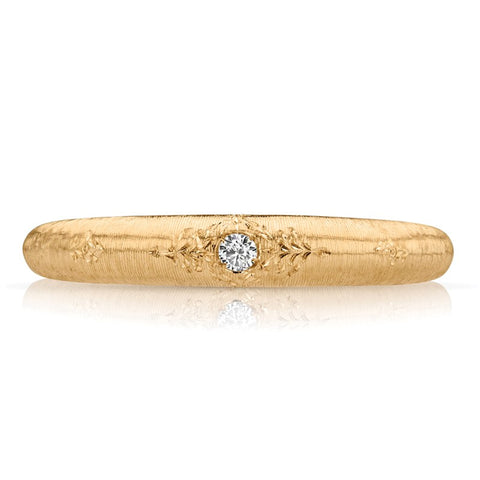 S1DR184 - 18K YELLOW RING;DIAMOND ACCENT