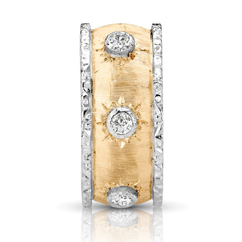 S1DR191 - 18K WHITE & YELLOW RING;DIAMOND=1/6 CTTW