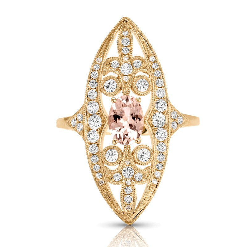 S1DR205 - 14KW MORGANITE DIAMOND RING;DIAMOND=1/2 CTTW;MORGANITE=5/8 CTTW
