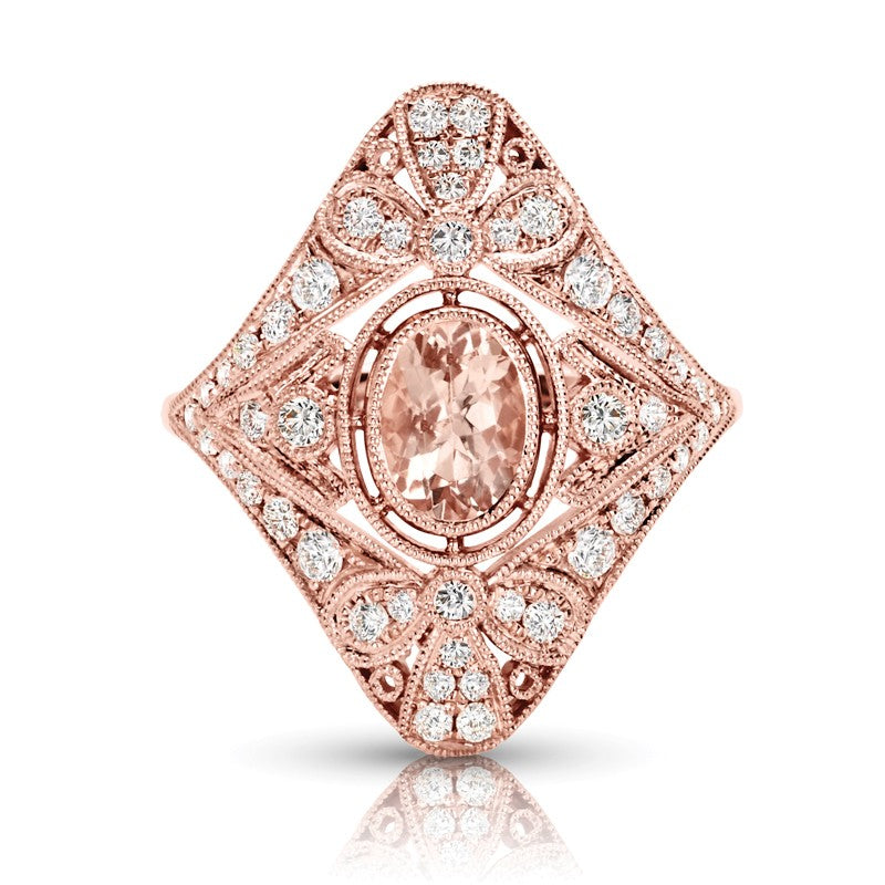 S1DR206 - 14KP MORGANITE DIAMOND RING;DIAMOND=5/8 CTTW;MORGANITE=3/4 CTTW