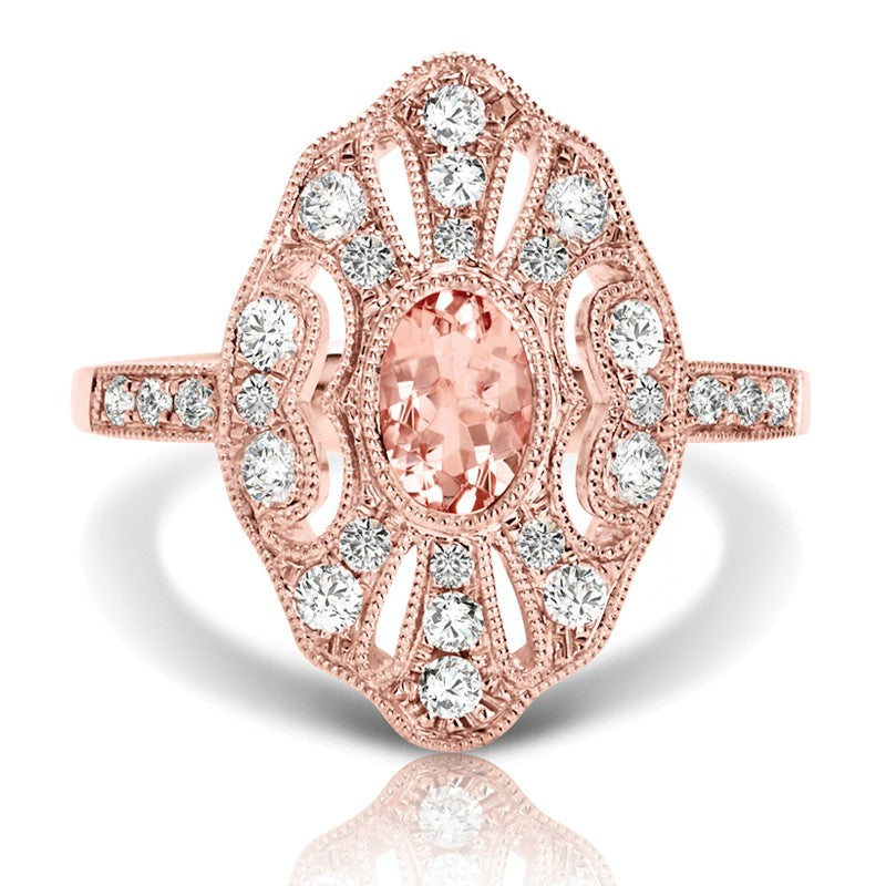 S1DR207 - 14KP MORGANITE DIAMOND RING;DIAMOND=1/2 CTTW;MORGANITE=1/2 CTTW