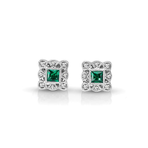 S1ER214-EM - 14KW EMERALD & DIAMOND EARRINGS;DIAMOND=1/20 CTTW;EMERALD=1/4 CTTW (Pair)