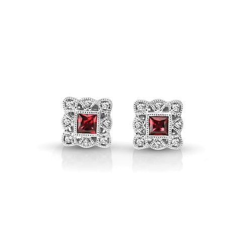 S1ER214-RU - 14KW RUBY & DIAMOND EARRINGS;DIAMOND=1/20 CTTW; RUBY=7/8 CTTW (Pair)