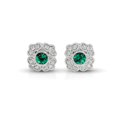 S1ER215-EM - 14KW EMERALD & DIAMOND EARRINGS;DIAMOND=1/8 CTTW;EMERALD=1/3 CTTW