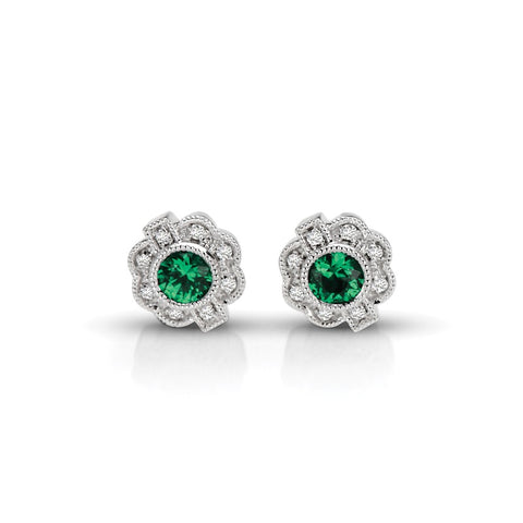 S1ER218-EM - 14KW EMERALD & DIAMOND EARRINGS;DIAMOND=1/20 CTTW;EMERALD=1/3 CTTW (Pair)