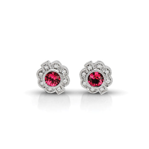 S1ER218-RU - 14KW RUBY & DIAMONDS EARRINGS;DIAMOND=1/20 CTTW; RUBY=3/8 CTTW (Pair)