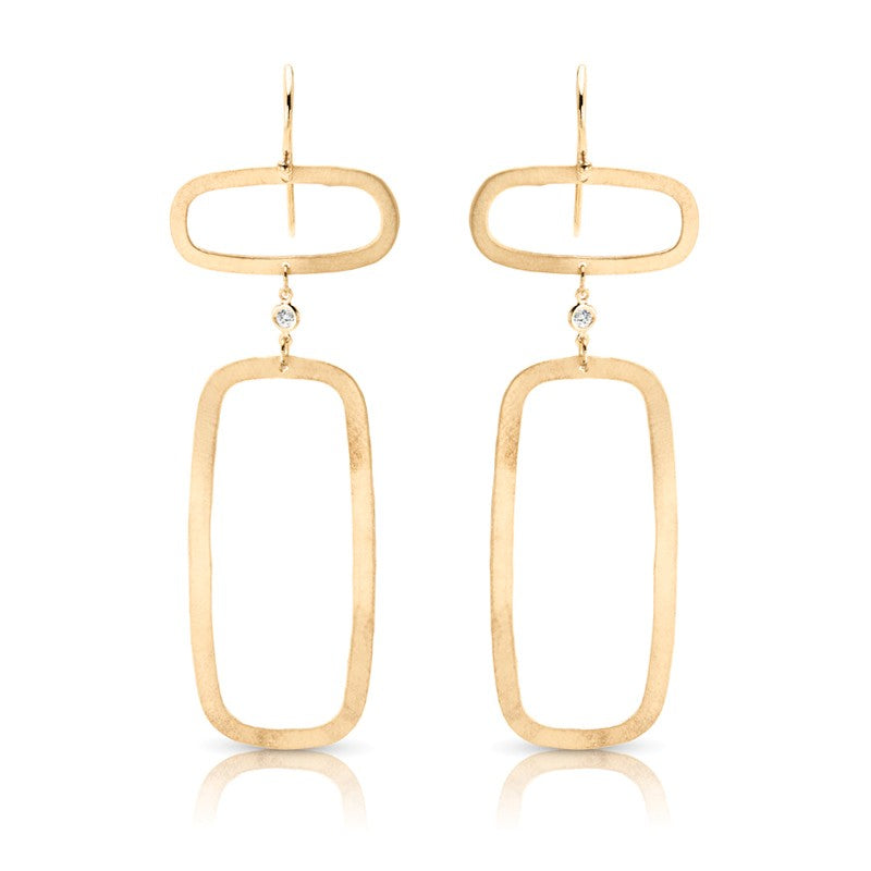 S1ER224 - 14K Y CONNECTED RECTANGLES W/ DIA EARRINGS;DIAMOND=1/20 CTTW (Pair)