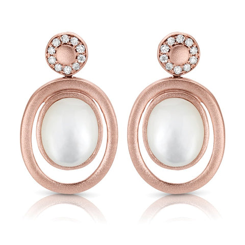 S1ER228 - 14K ROSE PEARL & DIAMOND EARRINGS;DIAMOND=1/8 CTTW (Pair)