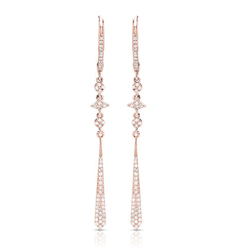 S1ER237 - 14K ROSE DIAMOND EARRINGS;DIAMOND=1/4 CTTW (Pair)