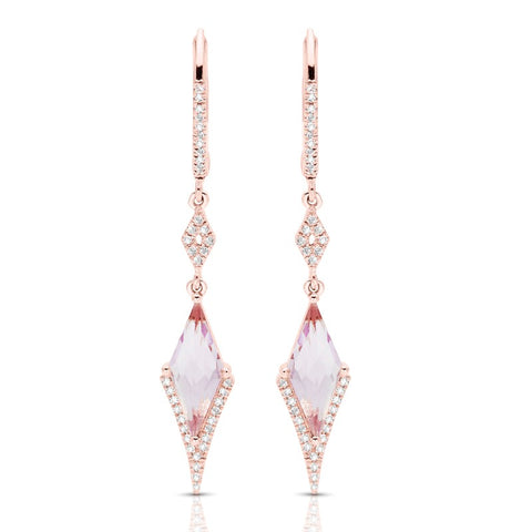 S1ER239 - 14K PINK AMETHYST & DIA EARRINGS;DIAMOND=1/6 CTTW (Pair)